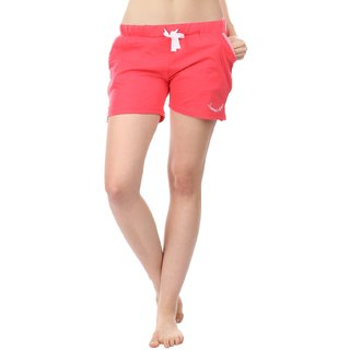 Women Cotton Night Shorts in Red Color Plain Casual Boxer Regular Fit M Size Short Pant with 2 Side Pockets & Drawstring with Elastic Waistband by Semantic