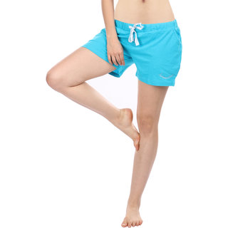 Women Cotton Night Shorts in Blue Color Plain Casual Boxer Regular Fit M Size Short Pant with 2 Side Pockets & Drawstring with Elastic Waistband by Semantic