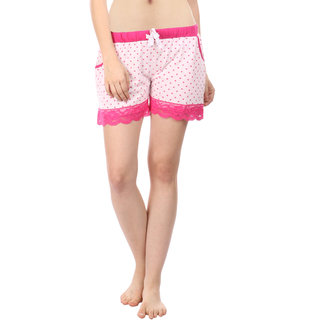 Women Cotton Night Shorts in Pink Color Printed Casual Boxer Regular Fit M Size Short Pant with 2 Side Pockets & Drawstring with Elastic Waistband by Semantic