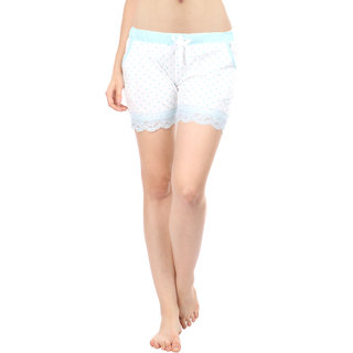 Women Cotton Night Shorts in Blue Color Printed Casual Boxer Regular Fit M Size Short Pant with 2 Side Pockets & Drawstring with Elastic Waistband by Semantic