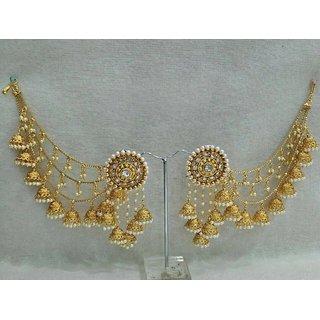 Women Bridal Earrings Gold Tonejewelry Antique Bahubali Pearl Earcuff