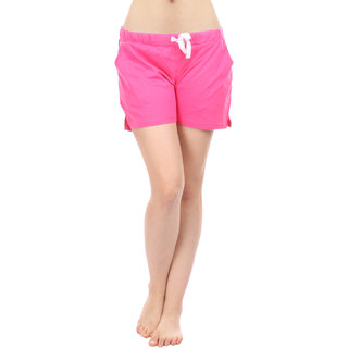 Women Cotton Night Shorts in Pink Color Plain Casual Boxer Regular Fit M Size Short Pant with 2 Side Pockets & Drawstring with Elastic Waistband by Semantic
