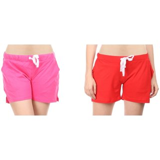 Combo of 2 Women Cotton Night Shorts in Red  Pink Color - Set of 2 Ladies Plain / Solid Casual Boxer Regular Fit M Size (Medium) Short Pant with 2 Side Pockets  Drawstring with Elastic Waistband (Pack of 2) by Semantic