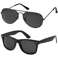 Code Yellow Black Aviator Sunglass + Free Black Wayfarer (UV Protection)  Unisex Sunglass