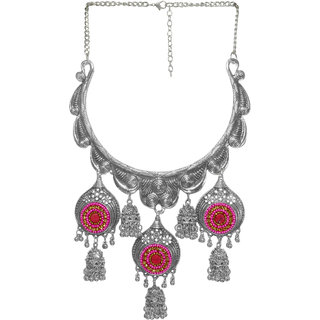 Cemaya Oxidised Silver Beaded Necklace For Women(Pink)