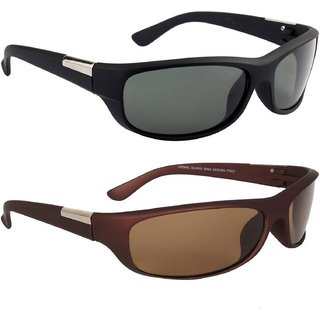 Debonair Medium Full Rim Combo Of Wrap Around Men's Sunglasses -(Black  Brown)