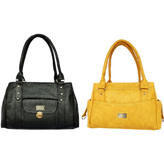 SHOULDER BAG BY ALL DAY 365 FOR LADIES(196a337)(1 Black  1 Yellow)
