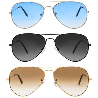 David Martin Silver  Blue Gradient Aviator With Free Black  Grey And Golden  Brown Gradient Aviator Sunglass.