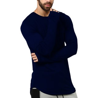 PAUSE NAVY Solid Cotton Round Neck Slim Fit Long Sleeve Men's T-Shirt