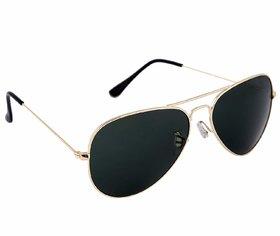 David Martin Black & Gold UV Protected Medium Full Rim Aviator Metal Unisex Sunglasses