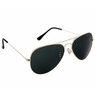 David Martin Black & Gold UV Protected Medium Full Rim Aviator Metal Unisex Sunglasses