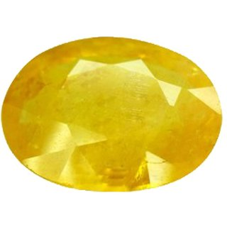 Original Pukhraj Stone 5.5 Ratti (5 carats) Rashi Ratna  Natural and Certified by GEMOLOGICAL LABORATORY OF INDIA (GLI) Yellow Sapphire Precious Gemstone Unheated and Untreated Top Quality Gems for Astrological Purpose