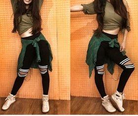 Code Yellow Striped  Knee Cut Legging /Gym Wear /Yoga Wear / Running Wear