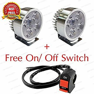 4 Led Headlight Fog Light For Motorcycle Bike Driving Head Lamp With On/Off Switch