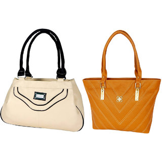 LADIES SHOULDER BAG BY ALL DAY 365(1 BEIGE  1 BROWN)(238a321)