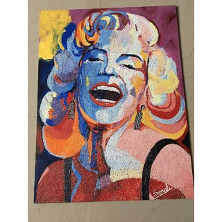buy needle texture painting with oil acrylic on canvas of marylin