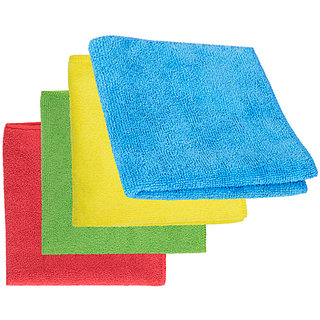 8-Piece Microfibre Towel Cloth Set Car And Bike Cleaning Household Dusting, Scratch Free Cleaning - Multi-Color, 40X40Cm