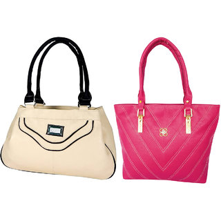 LADIES SHOULDER BAG BY ALL DAY 365(238a325)(1 BEIGE  1 PINK)