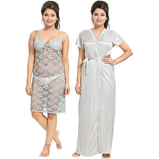 Be You Grey Women Lace Nighty with Robe (2 pieces Nighty Set)