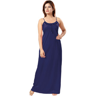 Be You Navy Blue Solid Women Nighty