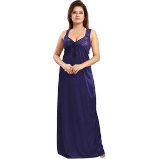 Be You Navy Blue Solid Women Nighty / Night Dress