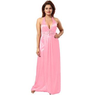 Be You Baby Pink Solid Women Night Dress / Nighty