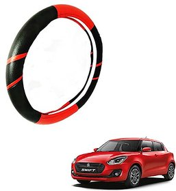 Car Steering Cover Swift Dzire(Red  Black)