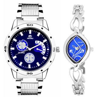 Adamo Analog Blue Dial Couple Combo Wrist Watch 108-2455SM05