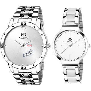 Adamo Designer (Day & Date) White Dial Couple Combo Wrist Watch 816-824SM01