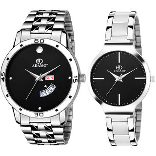 Adamo Designer (Day & Date) Black Dial Couple Combo Wrist Watch 816-824SM02