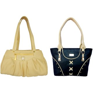 LADIES SHOULDER BAG BY ALL DAY 365(345a348)(1 BEIGE  1 BLACK)