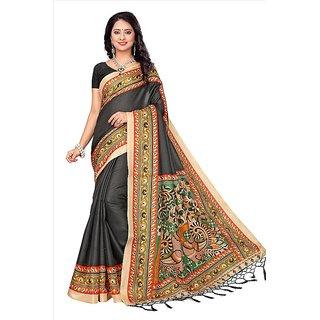 SOFTIEONS ECOMMERCE Floral Print Khadi Silk with Tessals Saree (Black)