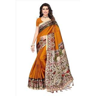 SOFTIEONS ECOMMERCE Floral Print Khadi Silk with Tessals Saree (Gold)