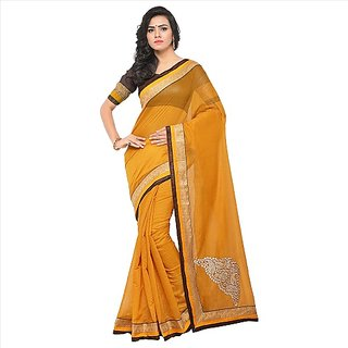 SOFTIEONS ECOMMERCE Floral Print Chanderi with Butta Saree (Yellow)