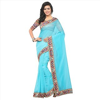 SOFTIEONS ECOMMERCE Floral Print Chanderi with Lace Saree (Blue)