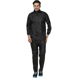 REXBURG Stylish Monsoon Mens Rain Coat (Black) absolute comfortable and made with 100 Water Proof material. (XL Size)