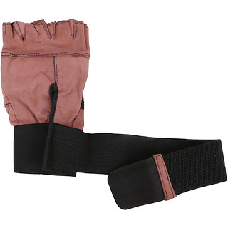 Leather Gym Gloves with Wrist Supports Gym  Fitness Gloves (M, Brown)