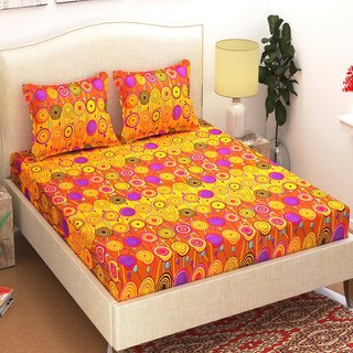 Azaani Yellow Polycotton 3D Printed 1 Double Bedsheet With 2 Pillow Covers(225 X 218 CM)