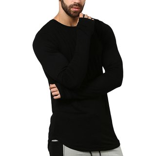 PAUSE Solid Cotton Round Neck Slim Fit Long Sleeve Men's T-Shirt