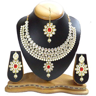 Dg Jewels Traditionnal Jewellery Sparkling Kundan Necklace Set-ENS3084