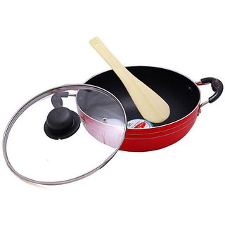 MAGICRAFT NON STICK DEEP KADHAI 2.5 LTR WITH GLASS LID
