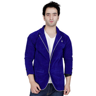 Garun Blue Casual Velvet Blazer For Men's