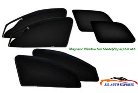 Tata SAFARI , Car Accessories Side Window Zipper Magnetic Sun Shade, Set of 6 Curtains.