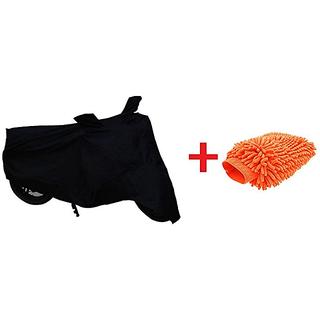 Autonext Combo Bike Body Cover Black + Microfiber Gloves For Bajaj Discover 110