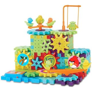 Shribossji Angry Birds Battery Operated Building Blocks Construction Set With Interlocking Gears For Kids - 81 Pcs