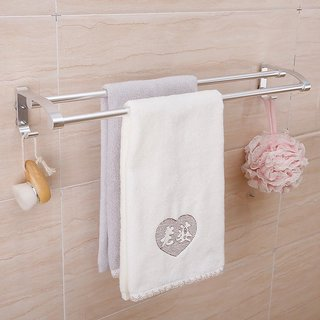 Magic Sticker Double Towel Rack (Silver)