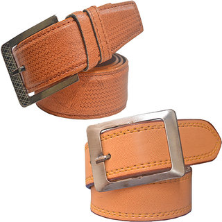 Sunshopping men's tan and tan leatherite needle pin point buckle belt (Pack of two) (Synthetic leather/Rexine)