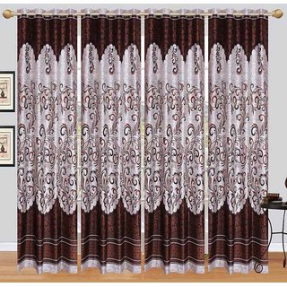 Cloud India 7Ft- Door Curtains Crush Plain Set of 4 Piece Polyster Living Room  Bed Room Curtains With Attractive Color