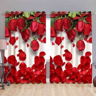 Cloud India 9Ft-Long Door Curtains Long Crush 3D Set of 2 Piece Polyster Living Room  Bed Room Curtains With Attractive Color