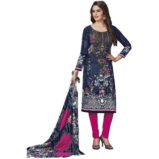 Risera Women's Synthetic Printed Unstitched Salwar Suit Dress Material (Grey)